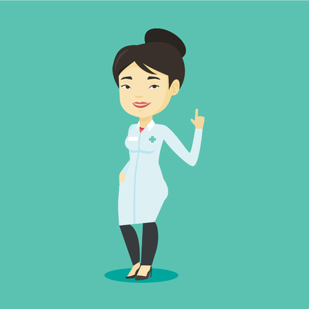 Young asian doctor with finger up. Cheerful doctor in medical gown showing finger up. Woman in doctor uniform pointing finger up. Vector flat design illustration. Square layout.