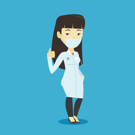 Asian doctor in mask giving thumbs up. Young doctor in medical gown showing thumbs up gesture. Friendly doctor with gesture thumb up. Vector flat design illustration. Square layout.