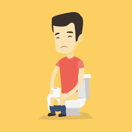 Asian man sitting on toilet bowl and suffering from diarrhea. Young man holding toilet paper roll and suffering from diarrhea. Man sick with diarrhea. Vector flat design illustration. Square layout.