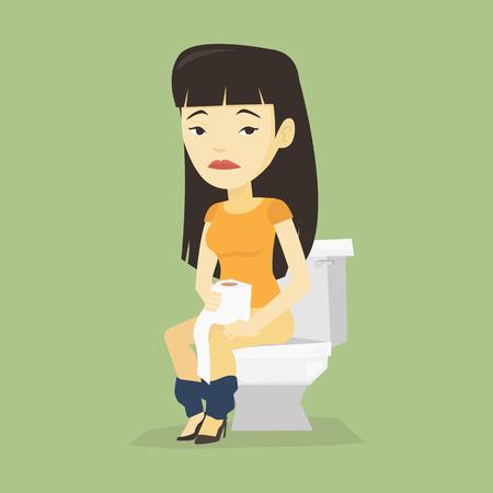 Aziatische vrouwenzitting op toiletkom en het lijden aan diarree. Vrouw met wc-papier rollen en lijden aan diarree. Vrouw ziek met diarree. Vector platte ontwerp illustratie. Vierkante lay-out.