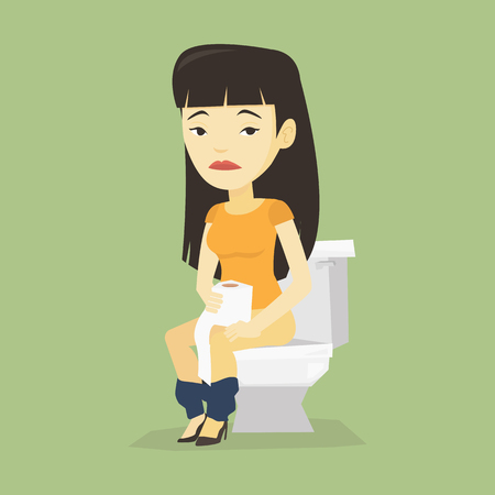 Asian woman sitting on toilet bowl and suffering from diarrhea. Woman holding toilet paper roll and suffering from diarrhea. Woman sick with diarrhea. Vector flat design illustration. Square layout. Vettoriali