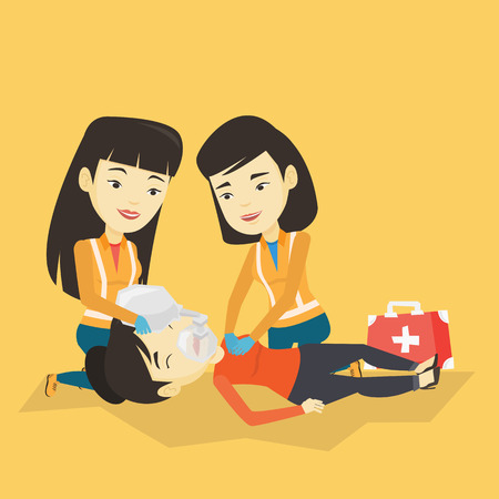 Asian paramedics doing cardiopulmonary resuscitation of a young wman. Team of emergency doctors during process of resuscitation of an injured woman. Vector flat design illustration. Square layout. Zdjęcie Seryjne - 74078244