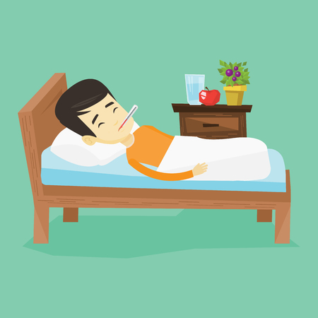 infectious disease: Asian sick man with fever laying in bed. Young sick man measuring temperature with thermometer in mouth. Sick man suffering from cold or flu virus. Vector flat design illustration. Square layout.