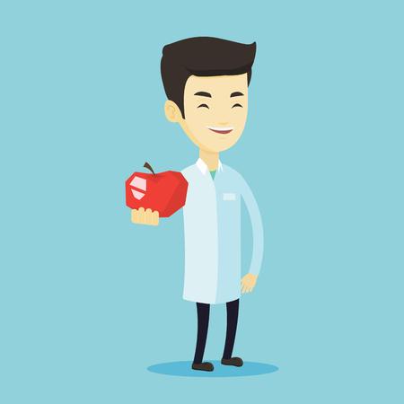 Jeune nutritionniste asiatique prescrire un régime alimentaire et une alimentation saine. Nutritionniste confiant souriant tenant une pomme. Nutritionniste offrant une pomme rouge fraîche. Illustration vectorielle de design plat. Disposition carrée.