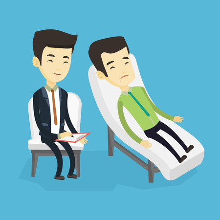 Asian patient lying on sofa and talking about problems with psychotherapist or psychologist. Psychologist having session with patient in depression. Vector flat design illustration. Square layout. Stok Fotoğraf - 74078261