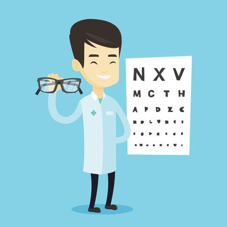 Doctor oftalmólogo asiático dando gafas. Oftalmólogo médico sosteniendo anteojos en el fondo de la tabla optométrica. Oftalmólogo ofreciendo gafas. Vector ilustración de diseño plano. Diseño cuadrado