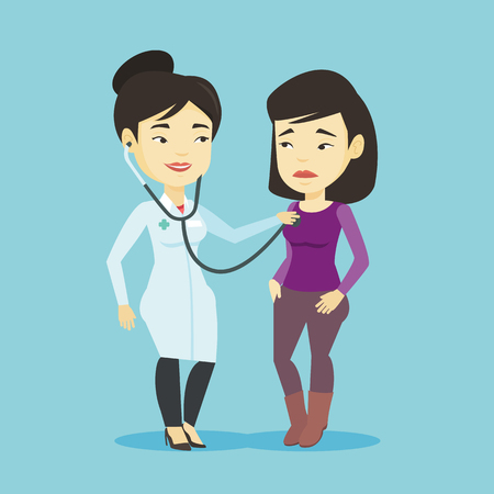 medical exam: Young asian doctor listening to chest of patient with stethoscope. Sick patient visiting doctor. Doctor in medical gown examining chest of a patient. Vector flat design illustration. Square layout. Illustration