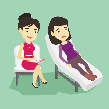 Asian patient lying on sofa and talking about problems with psychotherapist or psychologist. Psychologist having session with patient in depression. Vector flat design illustration. Square layout. Çizim