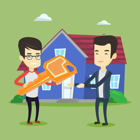 Asian real estate agent passing house keys to a new owner. Friendly real estate agent giving key to a new owner of house. Young man buying a new house. Vector flat design illustration. Square layout. Illustration