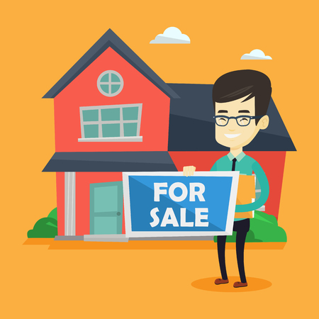 house for sale: Asian confident realtor offering the house. Young smiling realtor with placard for sale and documents in hands standing on the background of house. Vector flat design illustration. Square layout.