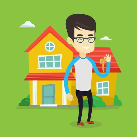 house for sale: Young asian real estate agent holding keys. Smiling real estate agent with keys standing on the background of house. Happy new owner with house keys. Vector flat design illustration. Square layout.