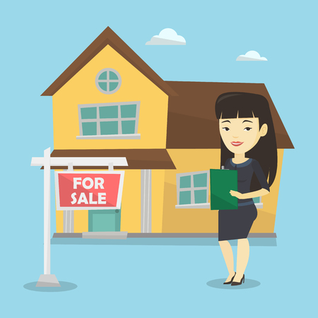 signing agent: Happy real estate agent signing home purchase contract. Real estate agent standing in front of the house with placard for sale. Realtor selling a house. Vector flat design illustration. Square layout.