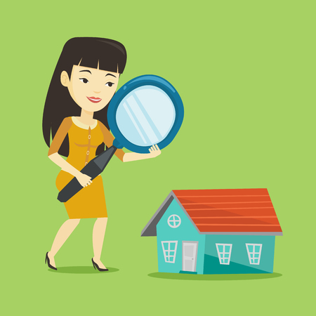 Asian woman using a magnifying glass for looking for a new house. Woman with a magnifying glass checking a house. Woman analyzing house with loupe. Vector flat design illustration. Square layout. Illustration