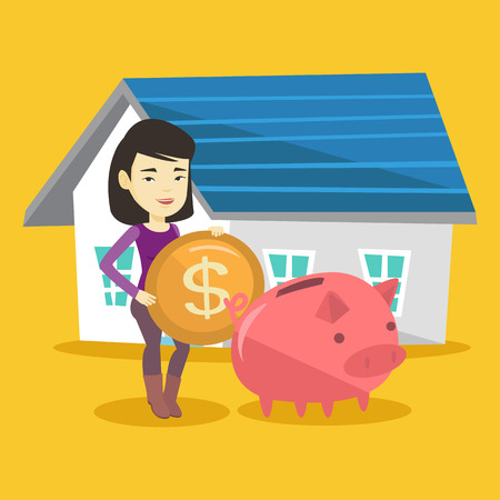 lease: Young woman putting dollar coin in piggy bank. Cheerful woman standing on the background of house. Concept of saving and investing money in real estate. Vector flat design illustration. Square layout.