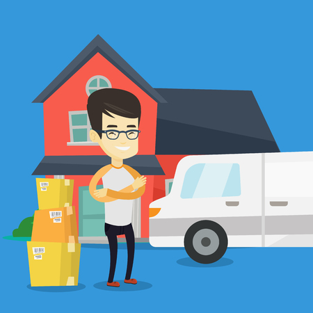 Asian homeowner unloading cardboard boxes. Homeowner standing in front of new home. Young man moving to a new house. Homeowner unpacking removal truck. Vector flat design illustration. Square layout.