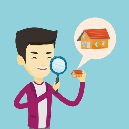 house for sale: Asian man looking for a new house in real estate market. Young smiling man using a magnifying glass for seeking a new house in real estate market. Vector flat design illustration. Square layout. Illustration