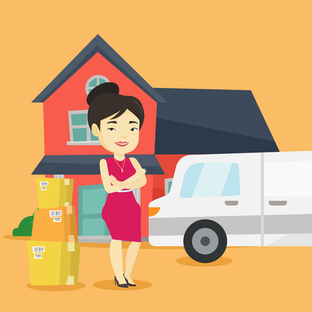 Asian homeowner unloading cardboard boxes. Homeowner standing in front of new home. Woman moving to a new house. Homeowner unpacking removal truck. Vector flat design illustration. Square layout.