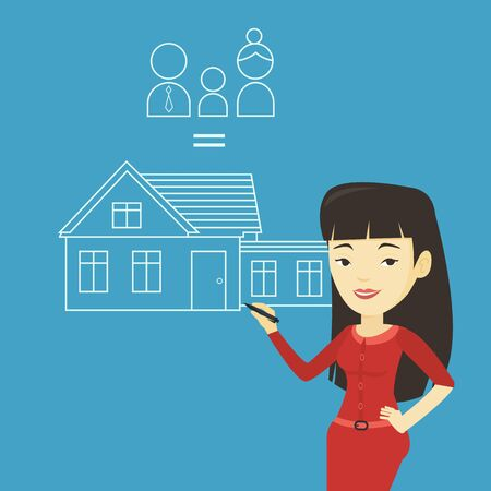 asian family: Young asian woman drawing a family house. Smiling woman drawing a house with a family. Happy woman dreaming about future life in a new family house. Vector flat design illustration. Square layout.