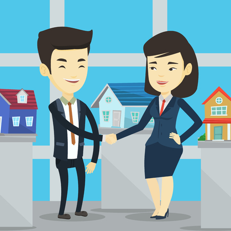conclusión: Young asian realtor shaking hand to cheerful customer after real estate deal in office. Conclusion of real estate deal between realtor and buyer. Vector flat design illustration. Square layout.