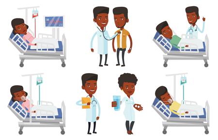 산소 마스크와 병원 침대에 누워하는 사람 (남자). 드롭 카운터와 의료 절차 중 남자입니다. 환자 병원에서 침대에서 회복. 흰색 배경에 고립 된 벡터