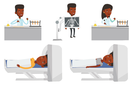 African man undergoes a magnetic resonance imaging scan test in hospital. Magnetic resonance imaging machine scanning patient. Set of vector flat design illustrations isolated on white background.