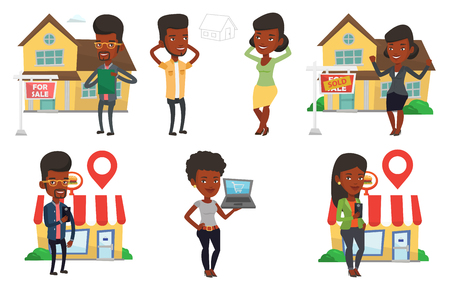 Woman dreaming about future life in a new house. Woman planning her future purchase of house. Woman thinking about buying of house. Set of vector flat design illustrations isolated on white background