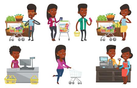 Afrikaans-Amerikaanse mens die het winkelen lijst controleert. Man met boodschappenlijstje in de buurt van trolley met producten. Mens die in het winkelen lijst schrijft. Reeks vector vlakke die ontwerpillustraties op witte achtergrond worden geïsoleerd.