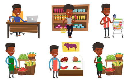 mujer en el supermercado: African supermarket worker giving thumb up. Supermarket worker standing on the background of shelves with vegetables and fruits. Set of vector flat design illustrations isolated on white background.