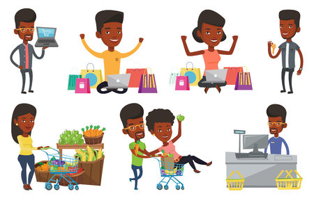 mujer en el supermercado: Young woman with hands up using laptop for shopping online. Woman sitting with shopping bags around her and doing online shopping. Set of vector flat design illustrations isolated on white background. Vectores