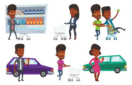 mujer en el supermercado: Happy african-american man pushing a shopping trolley with his friend. Young friends having fun while riding in shopping trolley. Set of vector flat design illustrations isolated on white background.