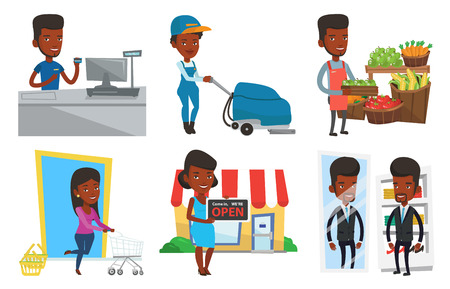 mujer en el supermercado: African cashier standing at the checkout in supermarket and showing credit card. Cashier working at the checkout in a supermarket. Set of vector flat design illustrations isolated on white background.
