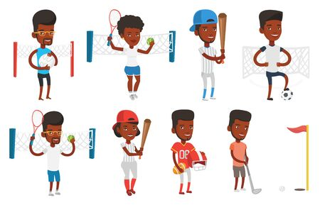 African-american sportsman playing tennis. Smiling tennis player standing on court. Happy tennis player holding racket and ball. Set of vector flat design illustrations isolated on white background. 向量圖像