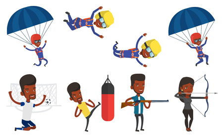 African-american man flying with parachute. Young man paragliding on parachute. Professional parachutist descending with parachute. Set of vector flat design illustrations isolated on white background Illustration