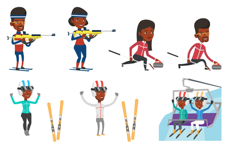 African sportswoman taking part in ski biathlon competition. Biathlon runner aiming at the target. Biathlon shooter with a weapon. Set of vector flat design illustrations isolated on white background. Ilustração