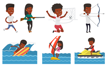 African woman sitting on water scooter. Woman riding on a water scooter in the sea at summer day. Woman training on water scooter. Set of vector flat design illustrations isolated on white background.
