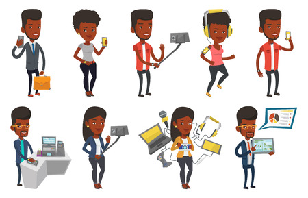 African man making selfie with a selfie-stick. Young smiling man making selfie with cellphone. Man taking selfie and waving hand. Set of vector flat design illustrations isolated on white background.