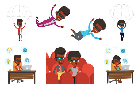Man wearing virtual reality glasses and flying with parachute. Young man in vr headset having fun while flying in virtual reality. Set of vector flat design illustrations isolated on white background.