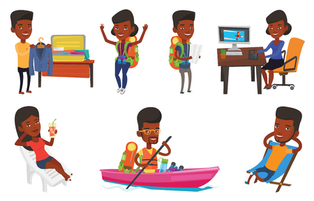 African traveler exploring the map. Traveler with backpack and binoculars looking at map. Traveler searching direction on a map. Set of vector flat design illustrations isolated on white background.
