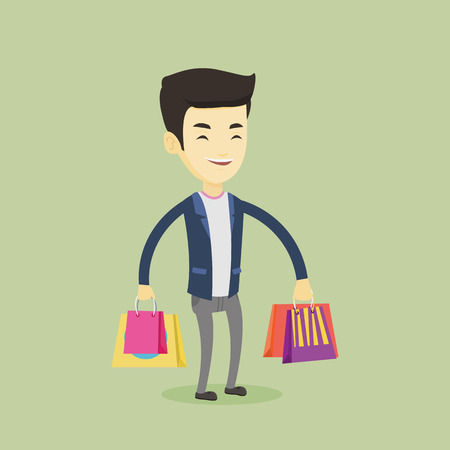 Happy man with shopping bags vector illustration Ilustração