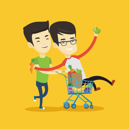 Happy asian friends pushing a shopping trolley with his friend. Couple of young carefree friends having fun while riding by shopping trolley. Vector flat design illustration. Square layout.