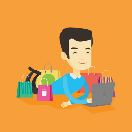 Young asian man using laptop for online shopping. Smiling man lying with laptop and making online shopping order. Man doing online shopping at home. Vector flat design illustration. Square layout. Illustration