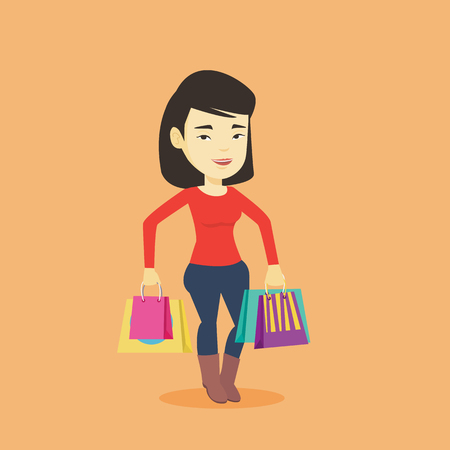Happy asian woman carrying shopping bags. Young smiling woman holding shopping bags. Woman standing with a lot of shopping bags. Vector flat design illustration. Square layout. Illustration