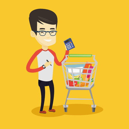 checking: Asian woman standing near supermarket trolley with calculator in hand. Young woman checking prices on calculator. Customer counting on calculator. Vector flat design illustration. Square layout.