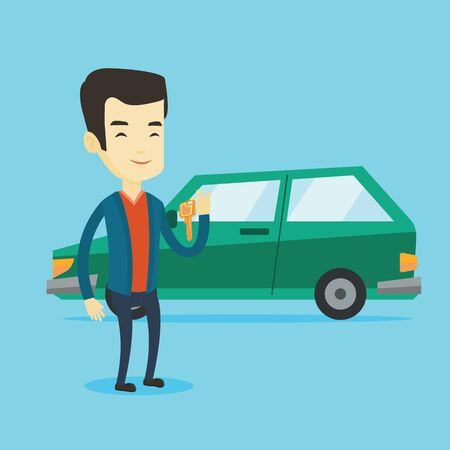 lease: Young asian man holding keys to his new car. Happy man showing key to his new car. Smiling man standing on the backgrond of his new car. Vector flat design illustration. Square layout.