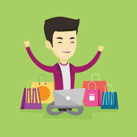 Young asian man with hands up using laptop for shopping online. Happy customer sitting with shopping bags around him. Cheerful man doing online shopping. Vector flat design illustration. Square layout Illustration