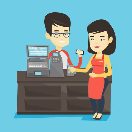 mujer en el supermercado: Woman paying wireless with her smartphone at the supermarket checkout. Customer making payment for purchase with smartphone. Cashier accepting payment. Vector flat design illustration. Square layout.