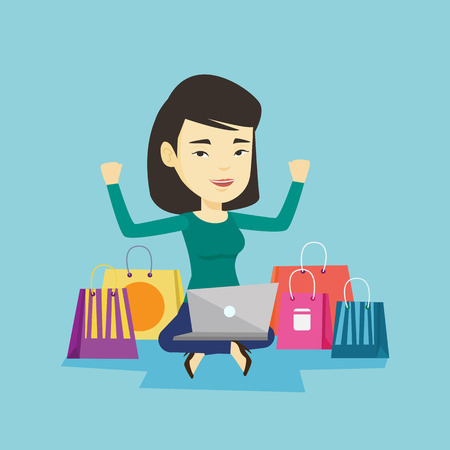 Woman shopping online vector illustration.