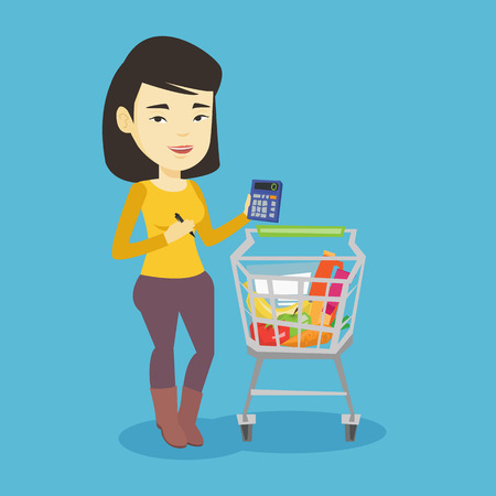 Mujer asiática que se coloca cerca de la carretilla del supermercado con la calculadora a disposición. Mujer joven que comprueba precios en la calculadora. El cliente cuenta con calculadora. Vector ilustración de diseño plano. Diseño cuadrado