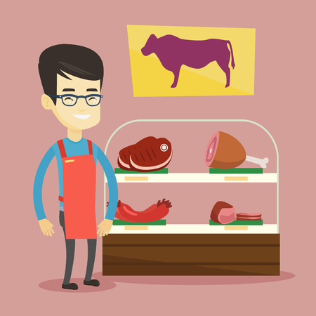 Asian butcher offering meat at display in butchery. Butcher at work at the counter in butchery. Butcher standing on the background of storefront. Vector flat design illustration. Square layout. Illustration