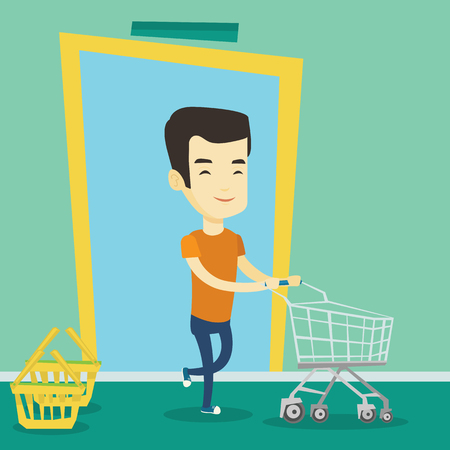 pushcart: Young asian man running into the shop with trolley. Man rushing to shopping. Cheerful man with an empty shopping trolley pushing supermarket trolley. Vector flat design illustration. Square layout.